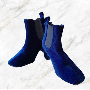 Cape Robbin | Royal Blue Velvet Bootie Heels